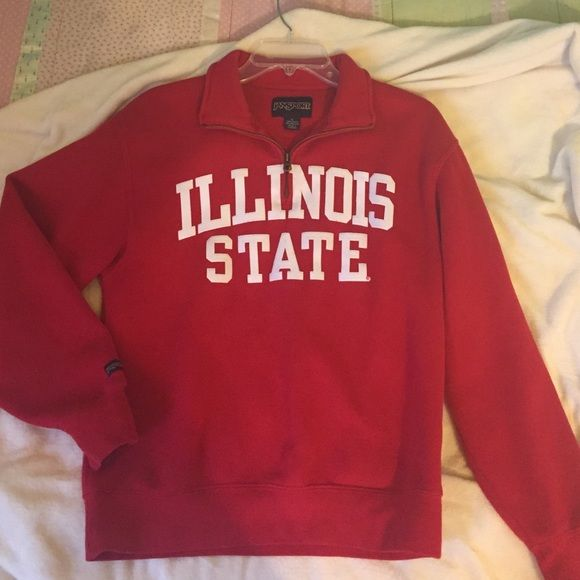ISU quarter zip (Illinois State University) Bright, cute and in great condition. Also fits a size medium. Jansport Jackets & Coats