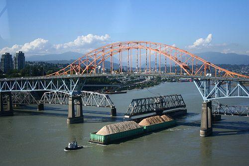 Pattullo Bridge between Surrey & New Westminster in British Columbia, Canada