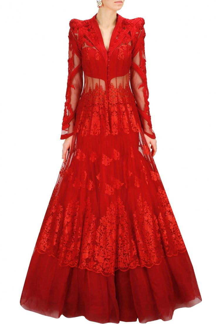 Red embroidered lace jacket with net flared lehenga - Gaurav Gupta