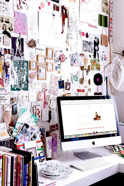 love the idea of a clutter/inspiration board, maybe behind the desk instead #designersoffice