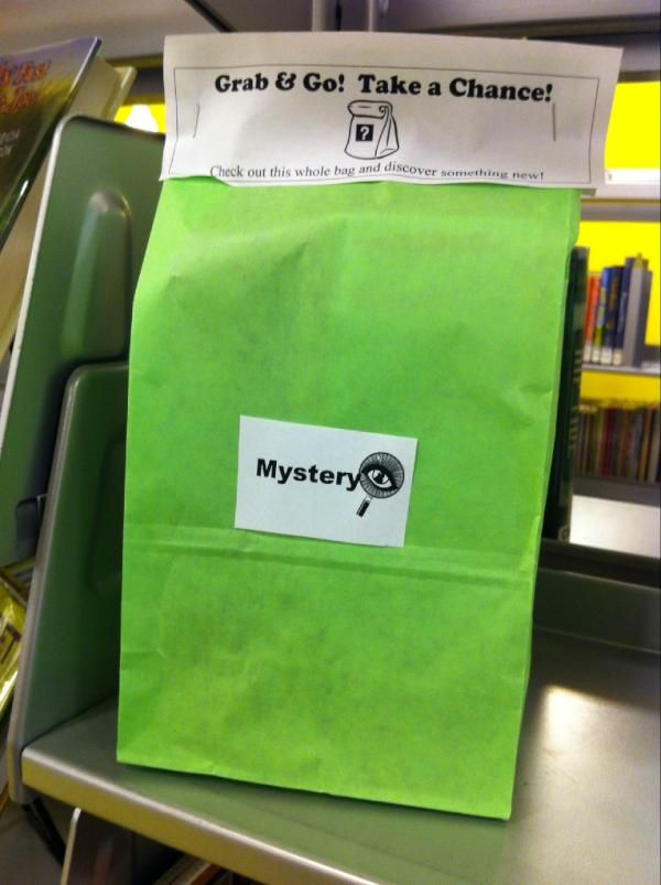 Grab 'n' Go mystery books.Libraries Ideas, Grab Bags, Reading Book, Awesome Ideas, Libraries Display, Mysteries Book, Reading Genre, Public Libraries, Kids Reading