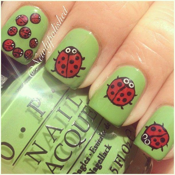 ladybug by  newlypolished #nail #nails #nailart