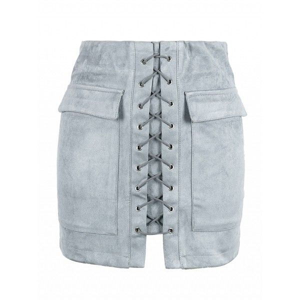 Choies Gray Faux Suede Lace Up Front Pencil Mini Skirt (£16) ❤ liked on Polyvore featuring skirts, mini skirts, grey, grey pencil skirt, gray skirt, faux suede skirt, gray mini skirt and short skirts