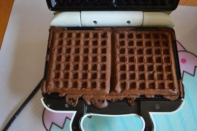 mix cake mix according to directions and make in waffle maker. add ice cream for ice cream sandwich