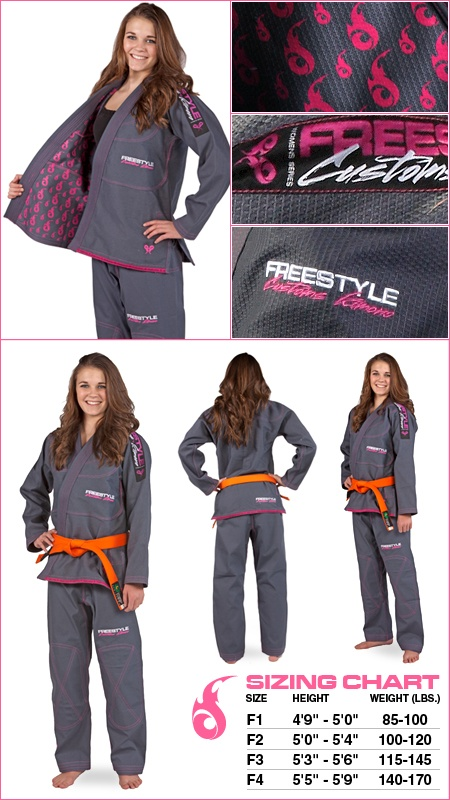 Grey and pink woman's BJJ gi.  Martial arts gear and equipment