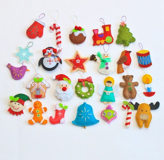 Felt Christmas ornaments pack of 25 by MiracleInspiration on Etsy