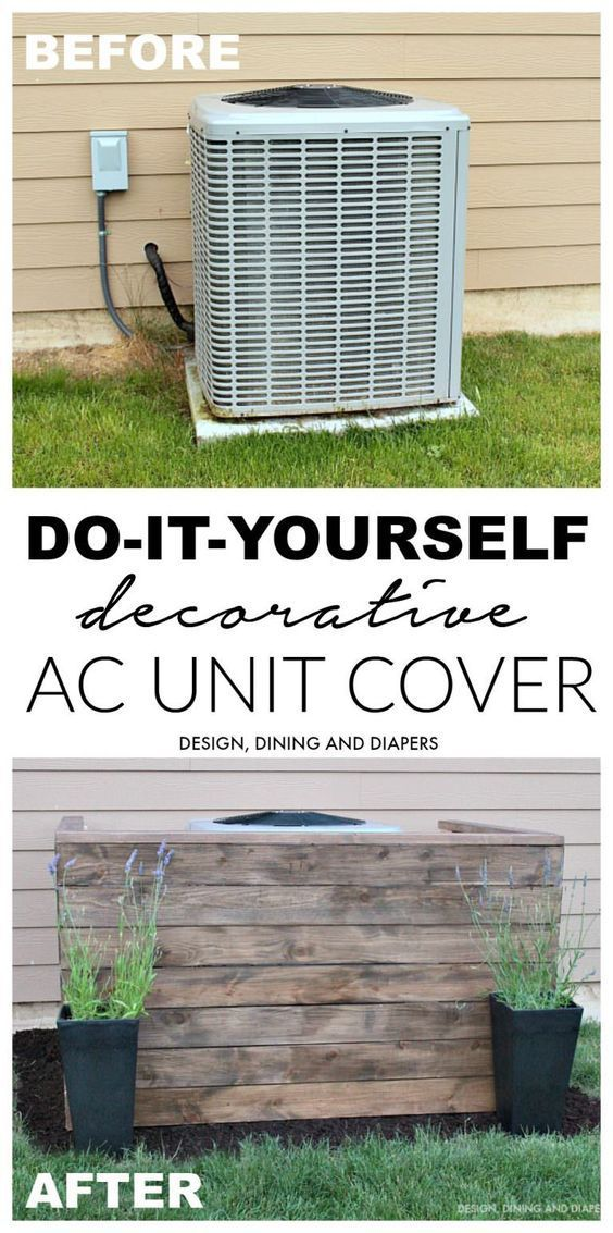 DIY Outdoor Pallet Projects. Cover your AC unit with wood from pallets! #Pallets #DIY #Outdoor