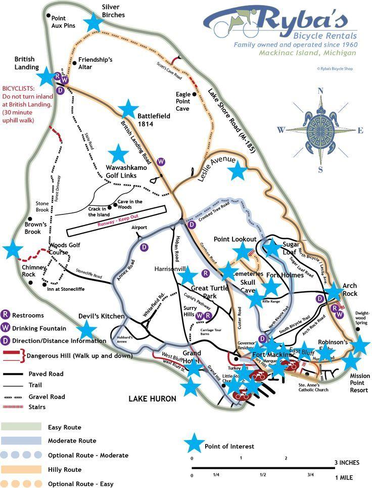 Island Maps From Ryba S Bike Shop On Mackinac Island Michigan