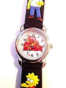 New Black SIMPSONS Silicone Girls/Boys Watch 3-D