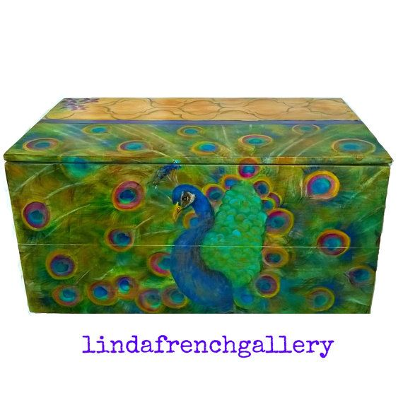 Large Peacock Trunk FURNITURE ART Hand by lindafrenchgallery #peacock #painting #trunk