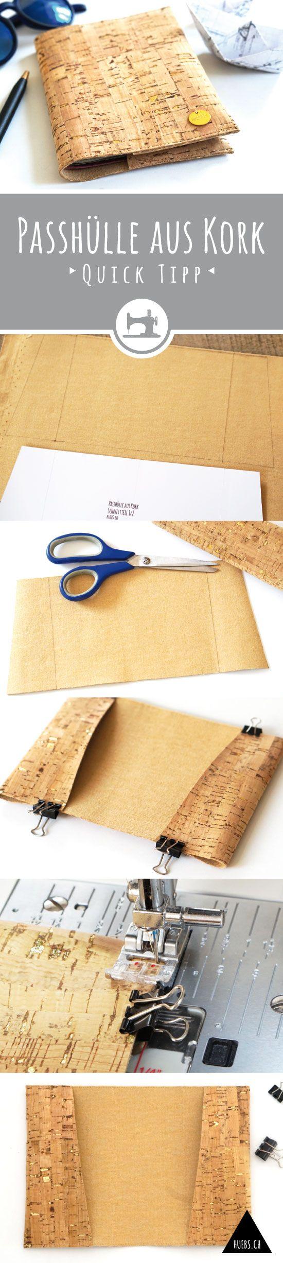 DIY Passhülle aus Kork - gratis Anleitung und Schnittmuster - Quick-Tipp