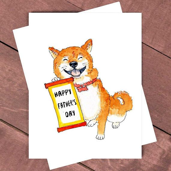 Funny Card For Dad Happy Father's Day From Dog Dog Dad Card Shiba Inu Dog Ca...