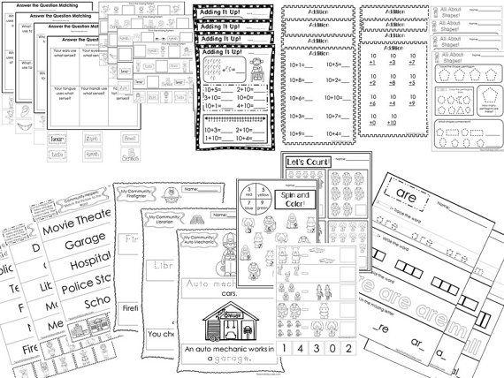 277 Advanced Kindergarten Worksheets Download Etsy Kindergarten Worksheets Learning Worksheets Curriculum