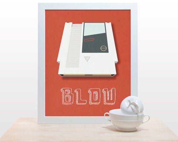 Blow - 11x14 retro modern print poster games gamer love old school nintendo game system cartridge red