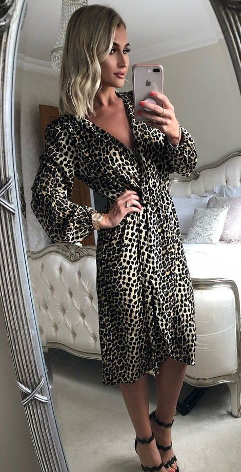 acce8835343f 10+ Fabulous Summer Outfits You Should Try Right Now  white and black  leopard print long-sleeved midi dress.