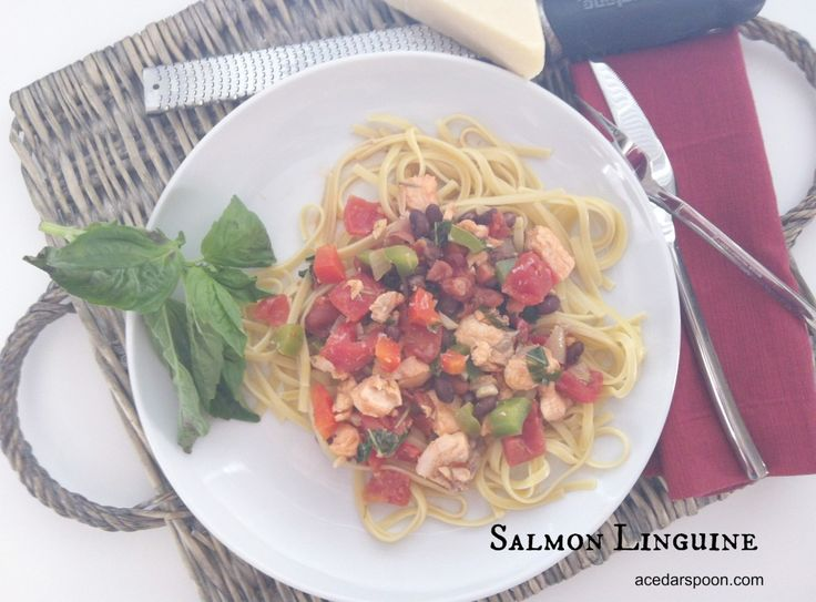 plate of Salmon Linguine