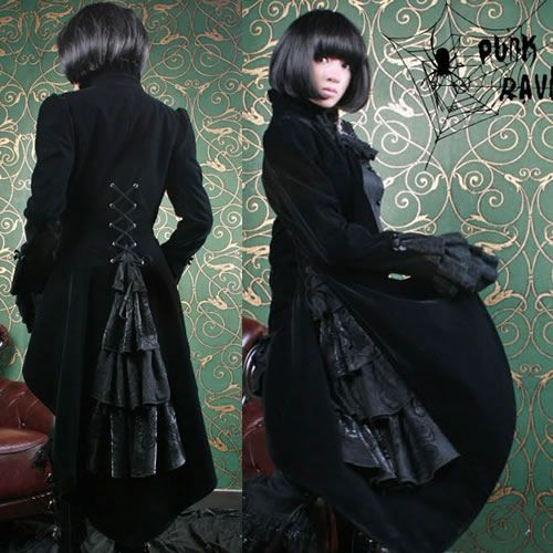 Black Victorian Gothic Cameo Long Coats Jackets for Men Women Clothing SKU-11401120