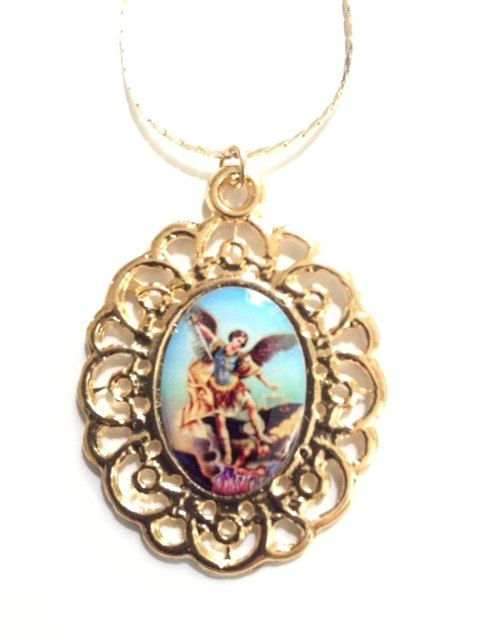 St Michael Medal Necklace, Archangel St Michael gold Oval pendant Cristian Jewelry Catholic gifts Religious Medals Catholic Jewelry