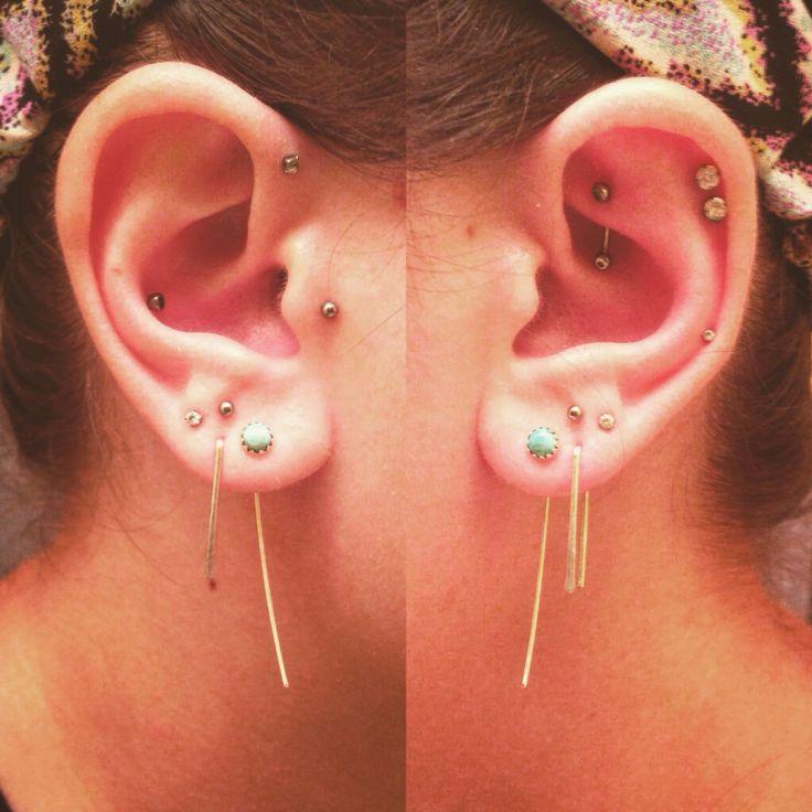 Multiple ear piercings #tragus #conch #forwardhelix