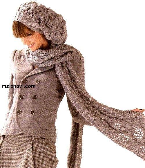 Knitted PATTERN / СХЕМА http://mslanavi.com/2014/10/vyazanyj-komplekt-beret-i-sharf-v-krasivyx-azhurax/  Вязаный комплект: шапка и шарф в красивых ажурах
