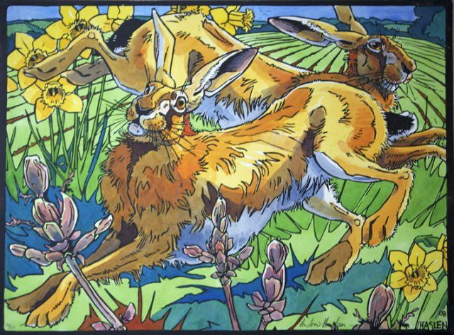 Springhares - Andrew Haslen - linocut and watercolours