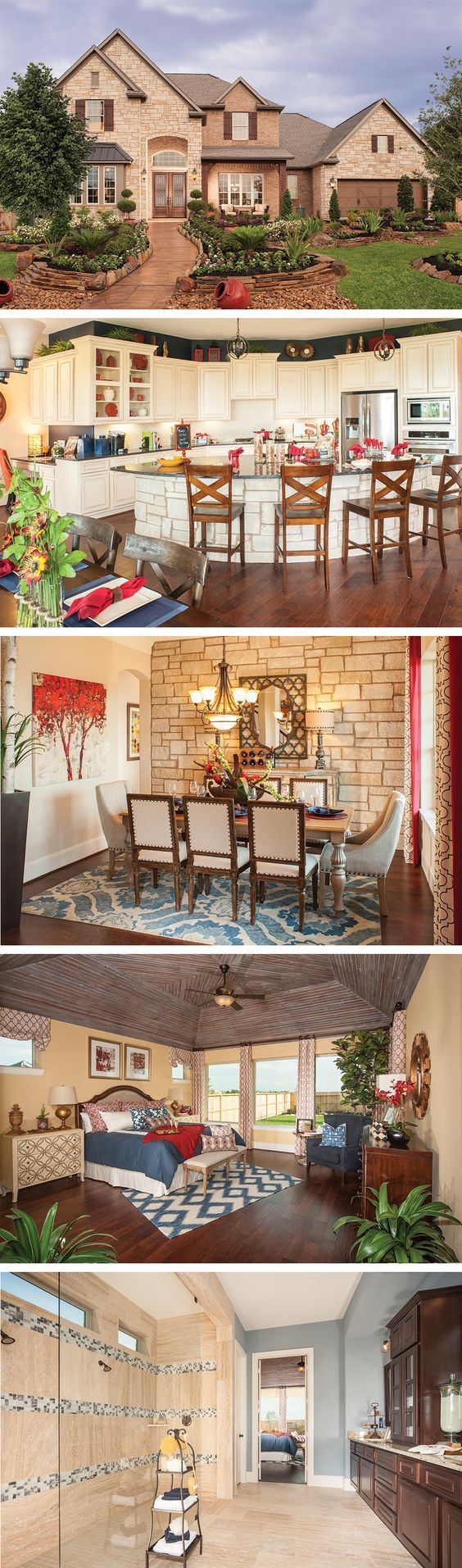 The Lakeway by David Weekley Homes in West Ranch is a 4 or 5 bedroom floorplan that features tray ceilings, a large open kitchen and family room, a sunroom and a covered porch. Custom home upgrades include an elegant curved staircase or a walk-in shower in the master bath.