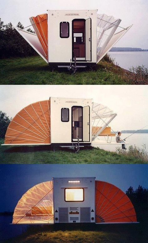 Cool Camper ~ 7'x14' trailer turns into a 20'x29' living space for five to six people ~ has a bathroom, kitchen, closet, terrace and space for beds