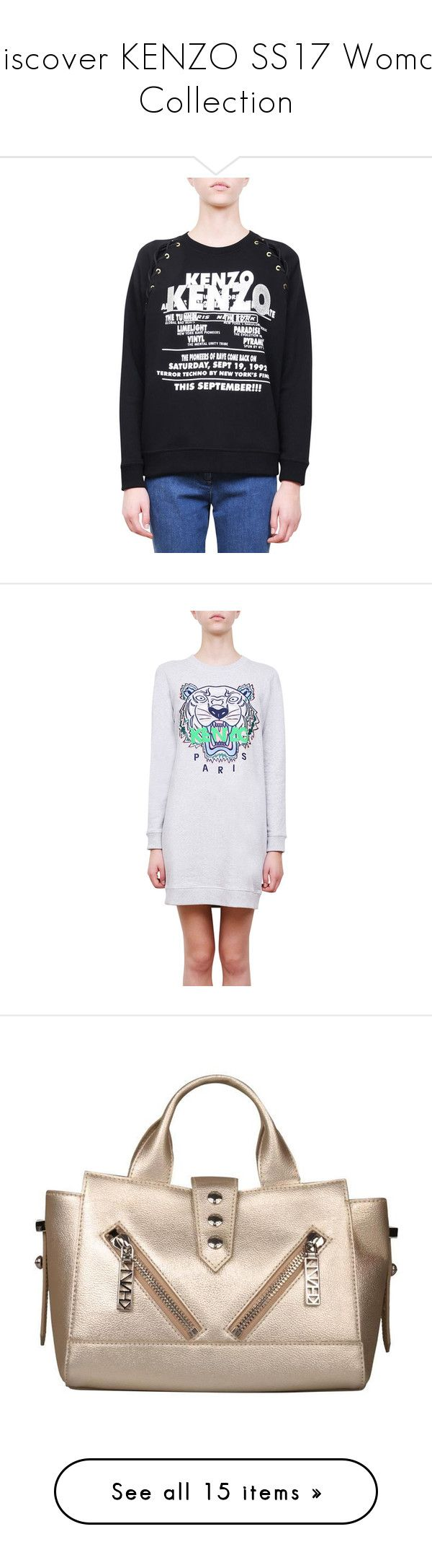 """""""Discover KENZO SS17 Woman Collection"""" by lindelepalais ❤ liked on Polyvore featuring tops, hoodies, sweatshirts, nero, summer tops, kenzo, summer sweatshirts, cotton sweatshirts, ribbed top and dresses"""