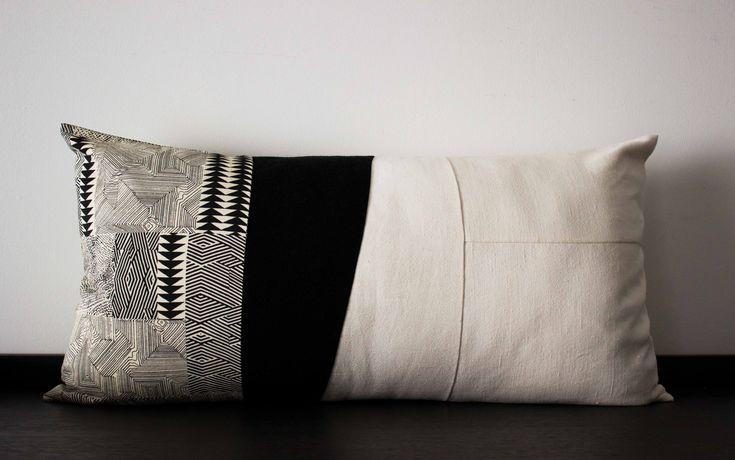 Cuscino rettangolare bianco e nero
