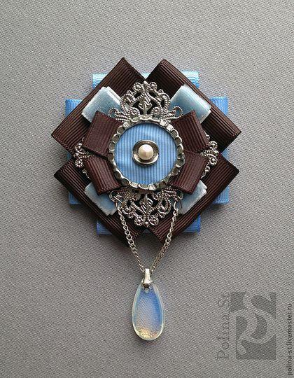 """Купить брошь """"лазурь"""" - голубой, коричневый, брошь, винтажный стиль, жемчуг, лунный камень"""