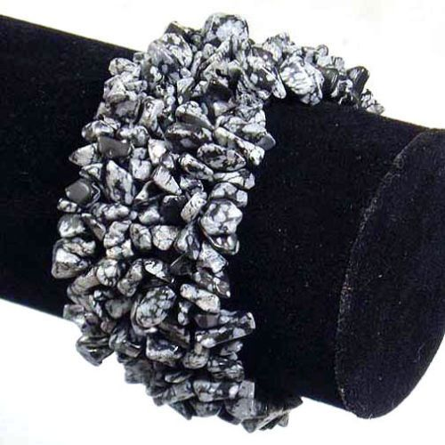 Snowflake Obsidian Wide Style Chipped Gemstone Bracelet