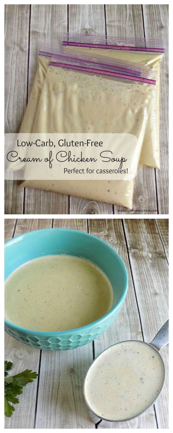 Low carb keto-friendly cream of chicken soup! This freezable recipe works for Trim Healthy Mama and Atkins, too! Perfect by itself or in casseroles.
