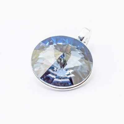 Swarovski Rivoli Pendant 12mm Blue Shade  Dimensions: length: 1,7cm stone size: 12mm Weight ~ 1,40g ( 1 piece ) Metal : sterling silver ( AG-925) Stones: Swarovski Elements 1122 12mm Colour: Blue Shade 1 package = 1 piece Price 12.90 PLN