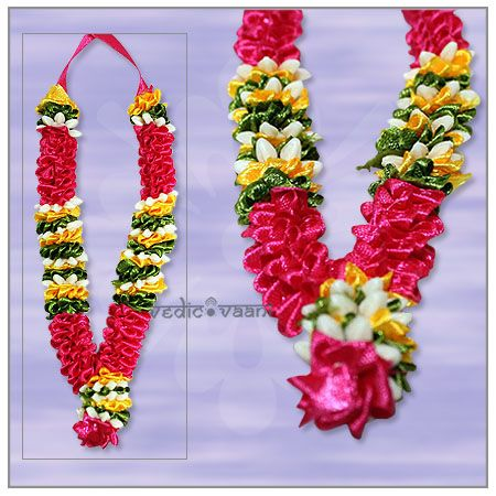 Artificial garlands Mala Haar wholesale and Supplier Vedicvaani.com Antic garlands for god online, colorful paper garland, Gemstone Haar for Diety and Photo. Artificial Rose Flower Garland - Thin, Artificial garland made of Satin flowers in pink,white,Yellow,green colour.  Flower garlands have the capacity of uplifting the aura of any place, a smile on your face just through their presence.
