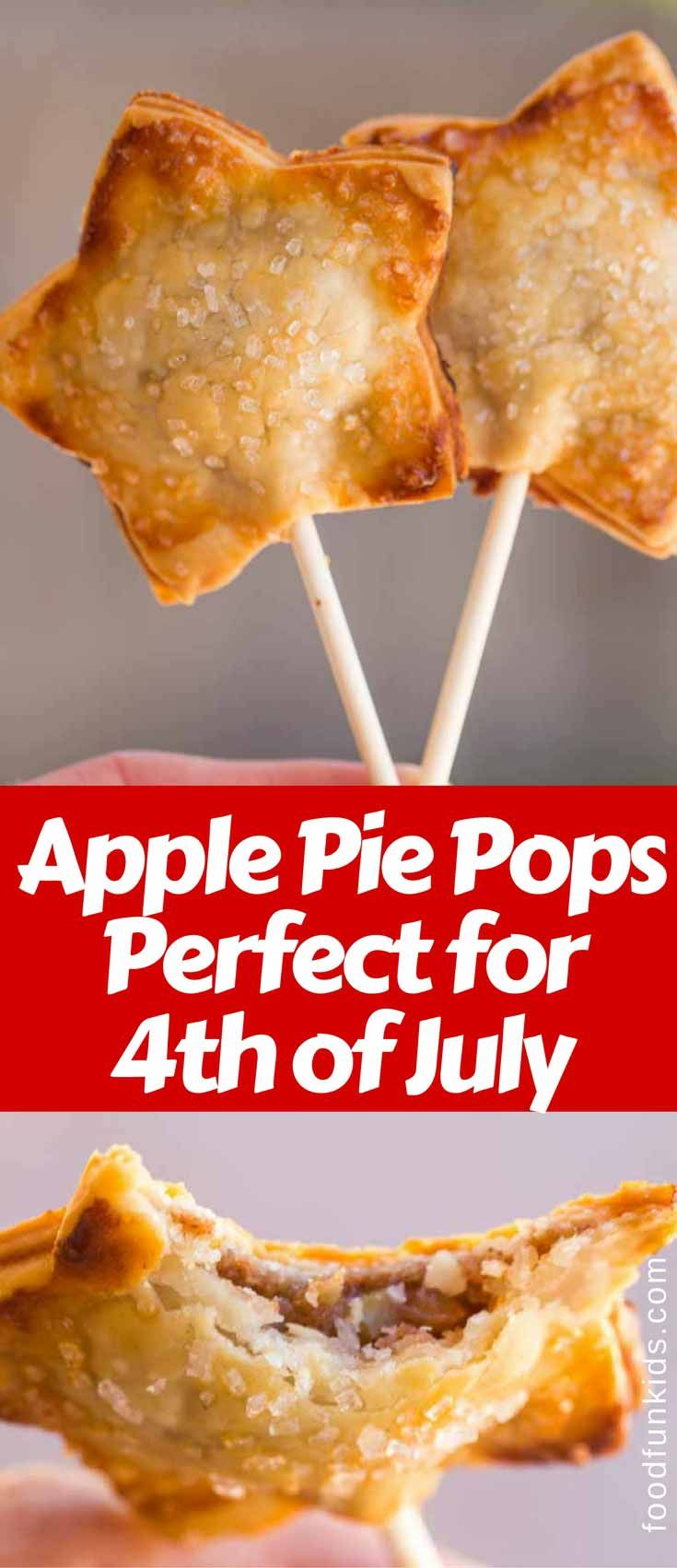 Apple Pie Pops are a quick and easy dessert you can make for your kids or for a fun 4th of July party. via @foodfunkids