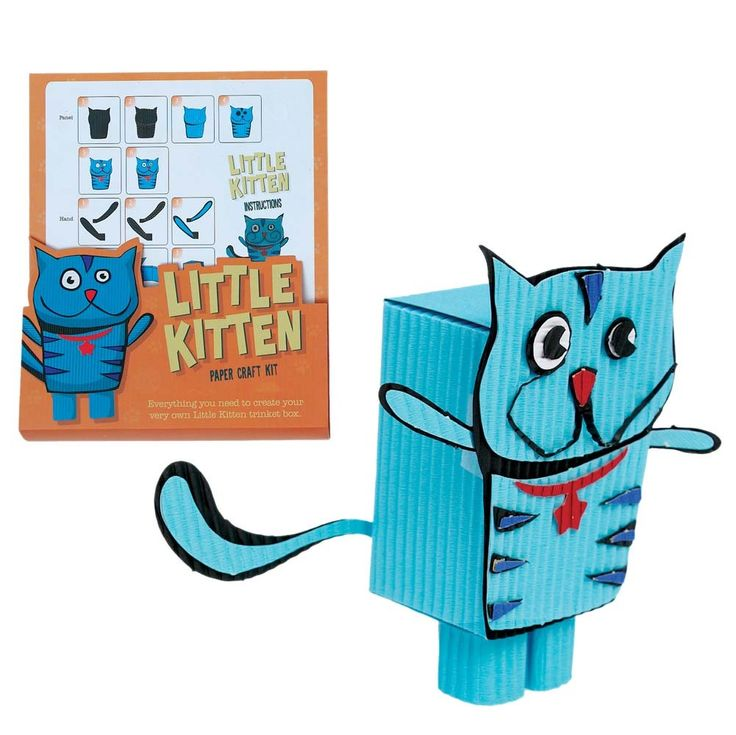 Little kitten paper craft kit, everything you need to create your very own blue cat trinket box. £2.99