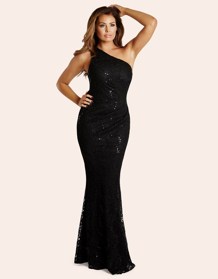 Jessica Wright Sequin Lace One Shoulder Maxi Dress