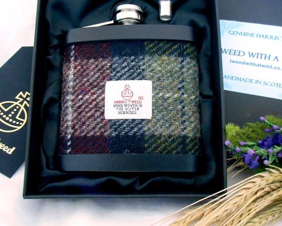 Harris Tweed hip flask Dark red and olive green mens gift made