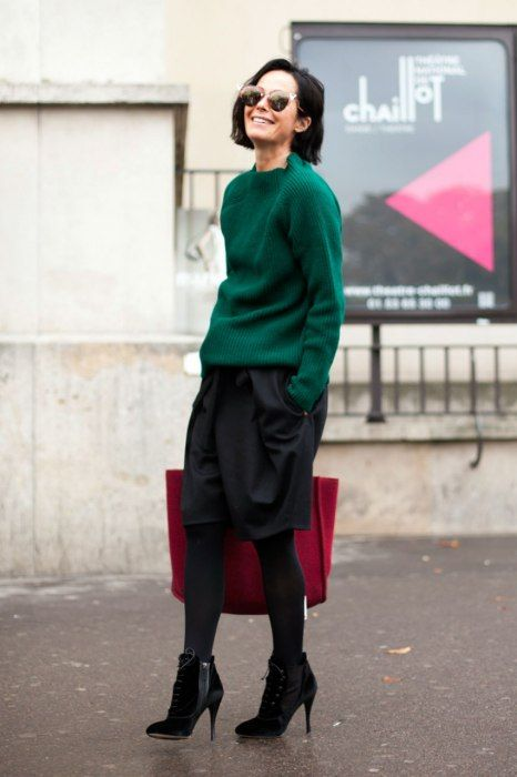 Repin Via: Vanity Fair Skirt + Pullover #greenwithredpops