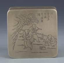A FINELY STORY CARVING BRONZE INK BOX