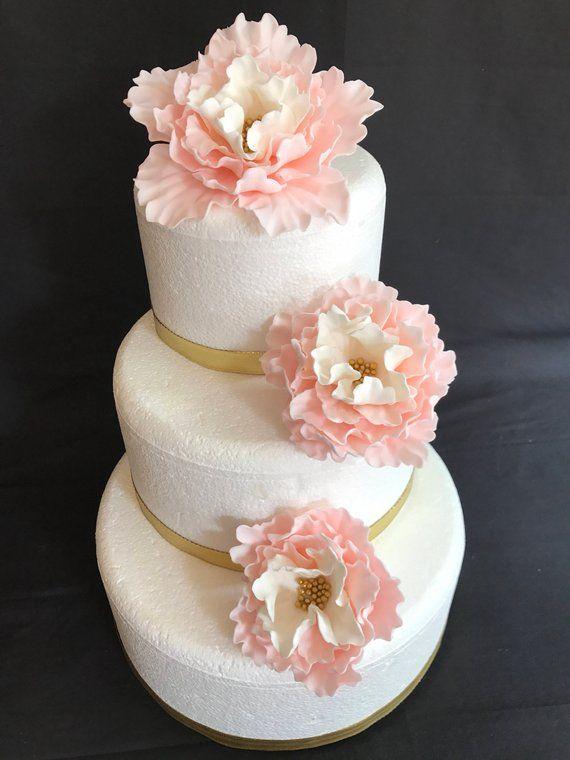 Blush Pink Wedding Cake Flowers 3pcs Vintage Edible Fondant Etsy Birthday Cake With Flowers Wedding Cake Art Wedding Cake Fresh Flowers