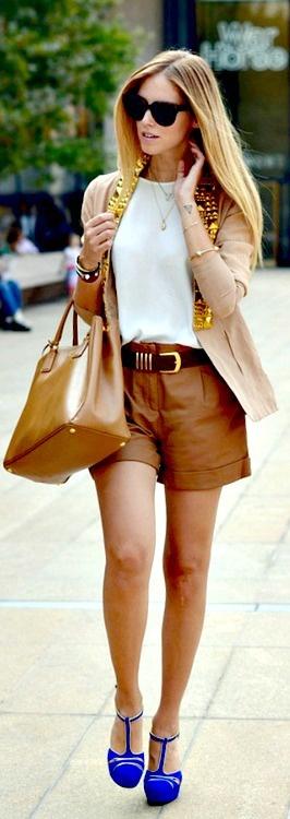Studded blazer + leather shorts + camel tote + cobalt blue heels