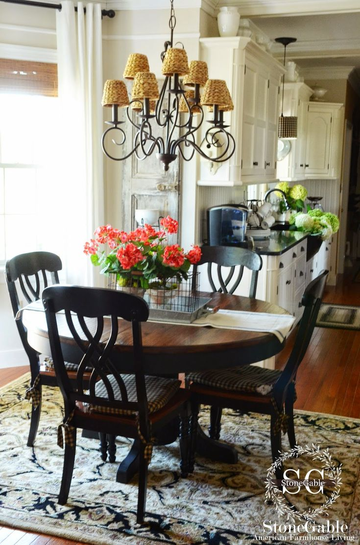Table and chair inspiration with chandelier by Ballard Design above for kitchen