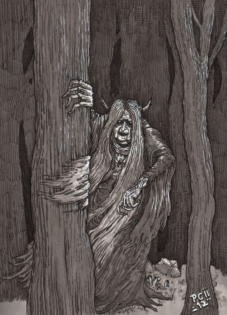 Muma padurii- Romanian folklore: an ugly and mean old hag that lived in the forest. She kidnaps children and enslaves them, though some she eats. She can shapeshift and lives in a dark hidden little house.