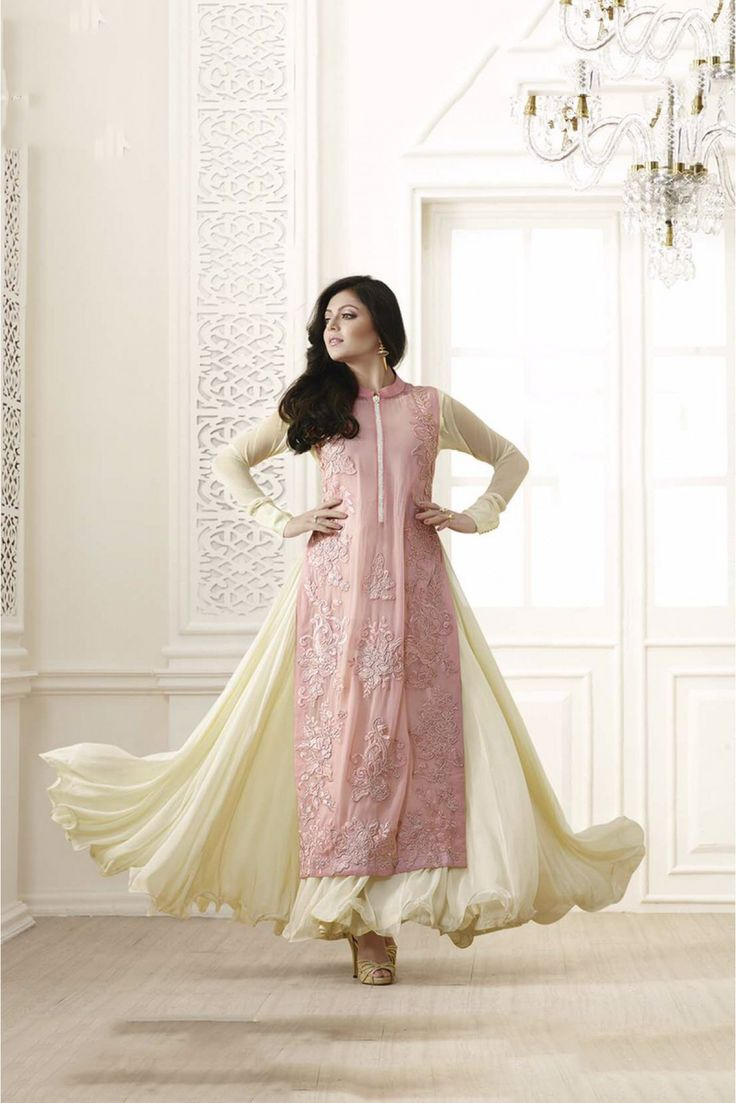 £62 Cream and Baby Pink Colour Georgette Fabric Designer Semi Stitched Salwar Kameez Comes With Matching Dupatta and Bottom Fabric. This Suit Is Crafted with Embroidery,Resham Work. This Suit Comes as Sem...