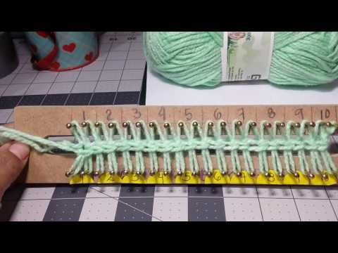 Different way to CO for double knitting using a crochet hook Montar puntos en telar, (nueva forma) - YouTube