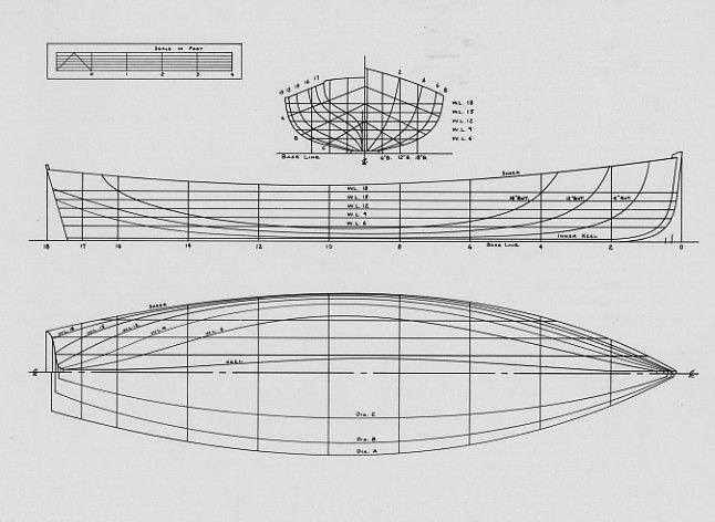 """Dhkurylko Whitehall lines - LOA 18'-1"""" Beam 4'-6 1/2"""" Weight 300 lbs. Draft at max. load (wl-9) Board up 0'-8"""" Board down 3'-3"""" Displacement: Max. load (wl-9) 1100 lbs. Light (wl-6) 425 lbs. Sail area: Total 134 sq. ft. Main 85 sq. ft. Mizzen 49 sq. ft."""