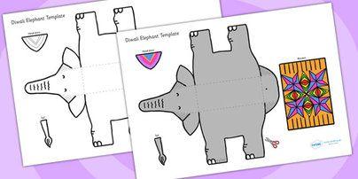 Twinkl Resources >> Diwali Elephant Cutout Template  >> Classroom printables for Pre-School, Kindergarten, Primary School and beyond!  diwali, elephant, cutout, cut out, cut-out, template, cut out template, diwali elephant, elephant template, cut and stick, animal, festival, celebrations,