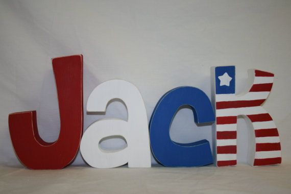 Baby name letters red white and blue kids room wood Letters nursery decor personalized gift baby shower centerpiece Americana decor via Etsy