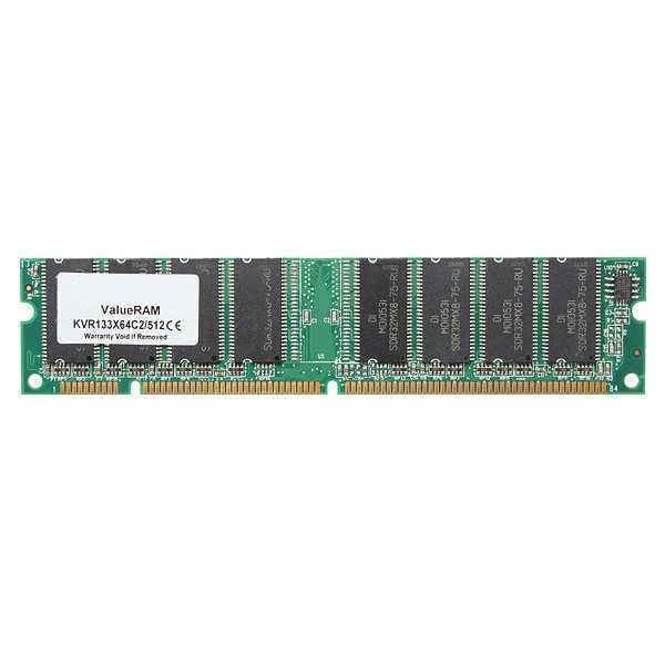 Description: KVR133X64C2/512MB Condition: Used, but still in excellent condition & fully working order Capacity: 512MB Pins: 168-Pin Form Factor: DIMM Speed: PC133 133MHz Technology: SDRAM Non-ECC Non-Registered Package Included: 1 x 512MB PC133 SDRAM Desktop Memory Ram